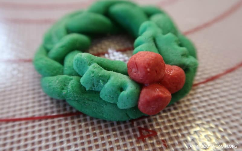 Salt Dough Holly Wreath Ornament @ AVirtuousWoman.org