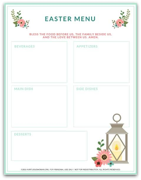 Free Printable Easter Menu Planner @ AVirtuousWoman.org