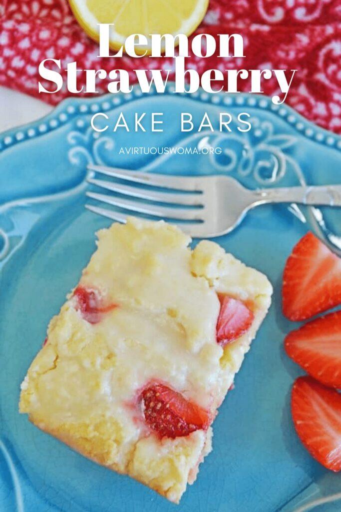 Lemon Strawberry Cake Bars @ AVirtuousWoman.org