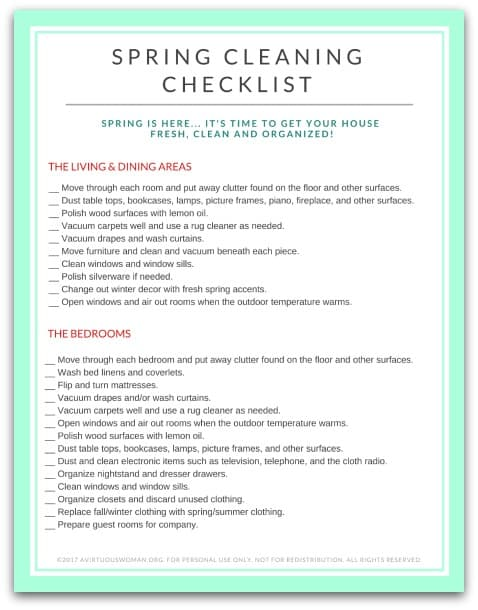 Download my free printable Spring Cleaning Checklist @ AVirtuousWoman.org