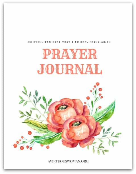 "Free Printable ""Be Still and Know"" Prayer Journal @ AVirtuousWoman.org #prayer #journal #mornings #freeprintables #printables #proverbs31 #proverbs31woman"