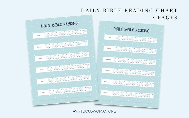 Daily Bible Reading Charts @ AVirtuousWoman.org