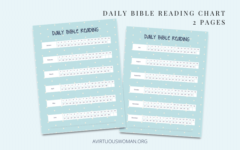 Daily Bible Reading Charts @ AVirtuousWoman.org