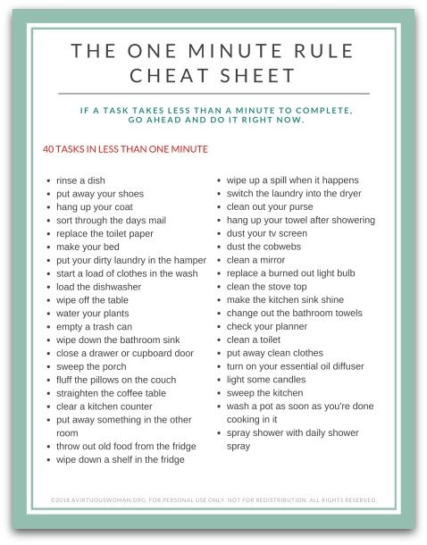 Free Printable: The One Minute Rule Cheat Sheet @ AVirtuousWoman.org