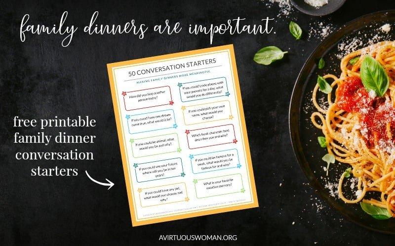 50 Family Dinner Conversation Starters @ AVirtuousWoman.org
