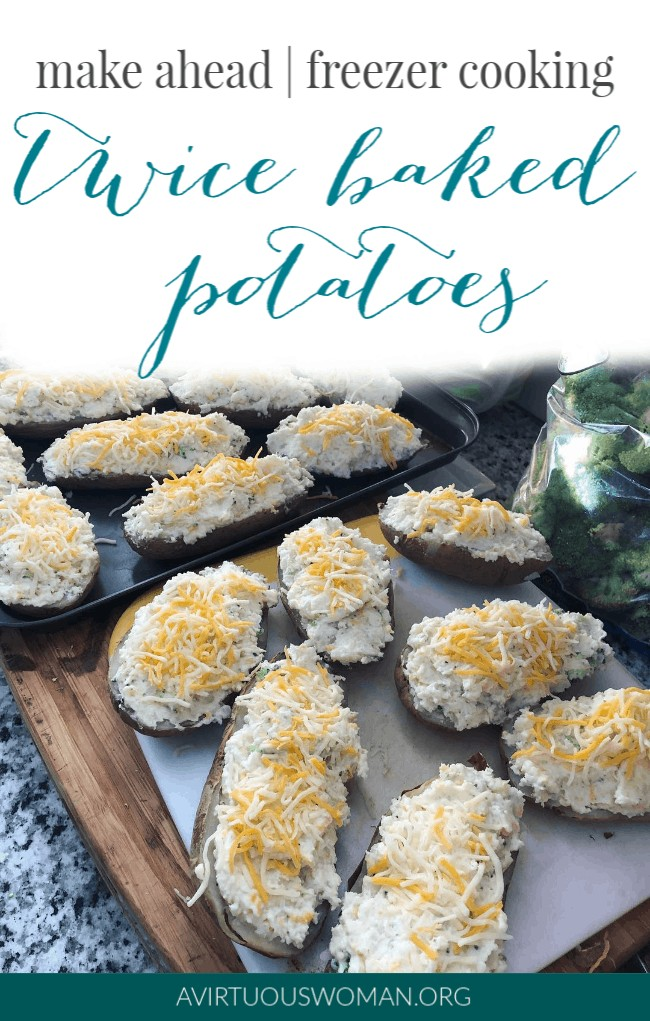 Make Ahead   Freezer Cooking   Twice Baked Broccoli Cheese Potatoes @ AVirtuousWoman.org
