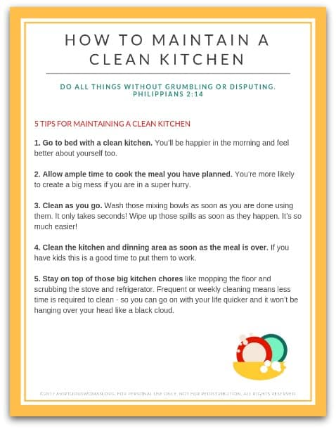 5 Tips for Maintaining a Clean Kitchen Printable @ AVirtuousWoman.org