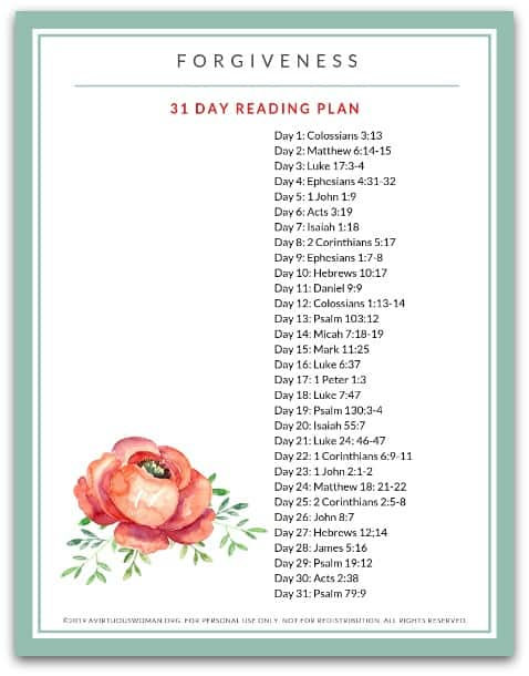 Forgiveness Bible Reading Plan @ AVirtuousWoman.org