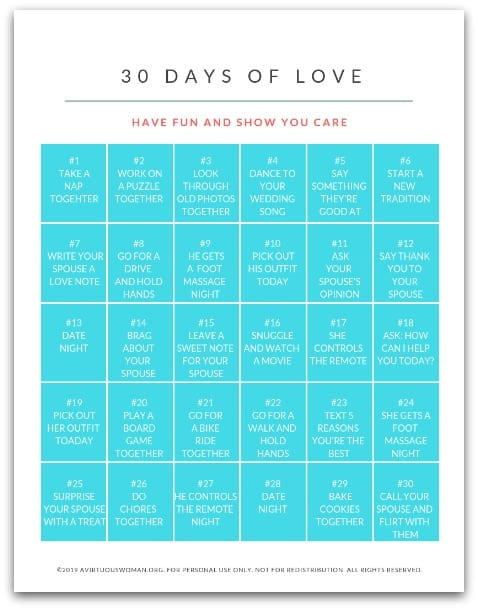 30 Days of Love | Marriage Challenge @ AVirtuousWoman.org