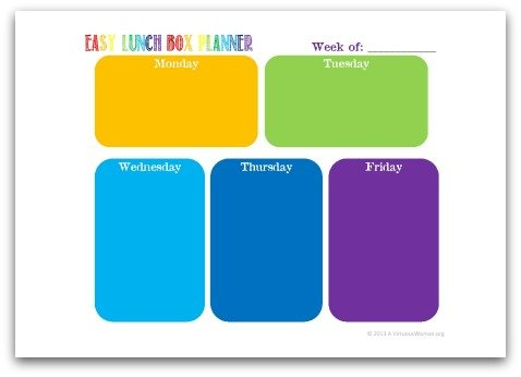 Free Printable Easy Lunch Box Planner @ AVirtuousWoman.org
