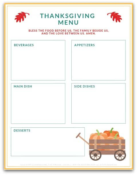 Thanksgiving Menu @ AVirtuousWoman.org