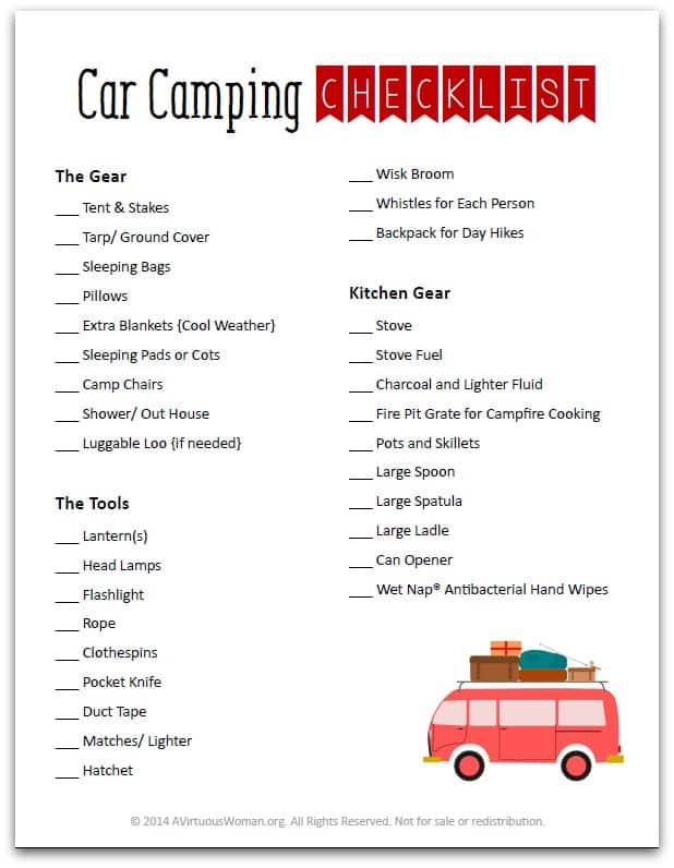 Car Camping Packing List @ AVirtuousWoman.org