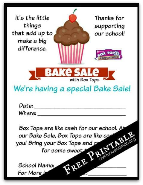 Box Tops Bake Sale | Free Printable Flyer @ AVirtuousWoman.org