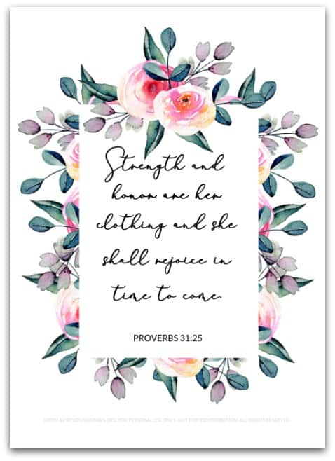 Proverbs 31:25 | Printable Art Print | Proverbs 31 Quotes