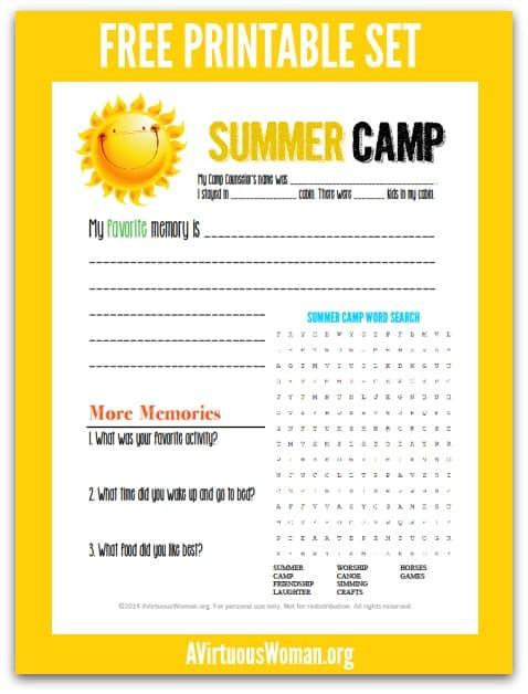 Summer Camp Care Package | Free Printable @ AVirtuousWoman.org