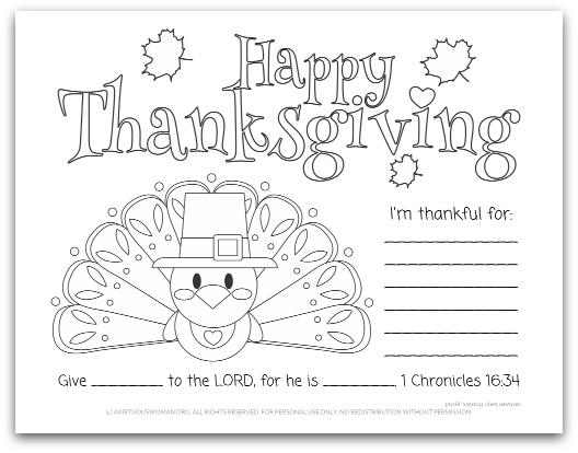 Happy Thanksgiving Place Mat @ AVirtuousWoman.org