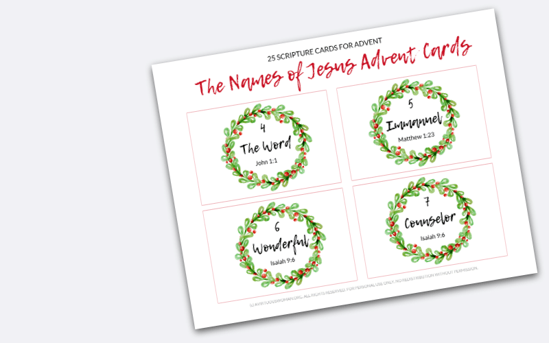25 Names of Jesus Advent Cards @ AVirtuousWoman.org