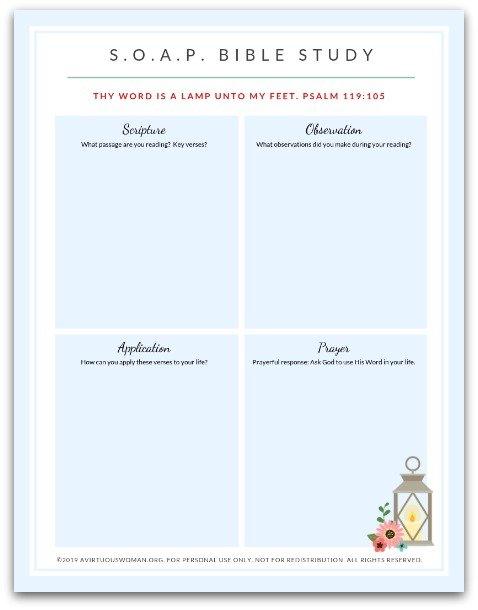 Free Printable SOAP Bible Study Method @ AVirtuousWoman.org