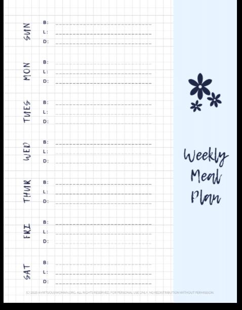 Weekly Menu Planner @ AVirtuousWoman.org