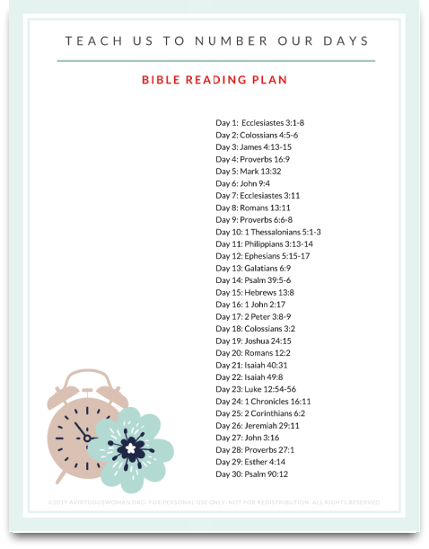 Free Printable Bible Reading Plan about Time @ AVirtuousWoman.org