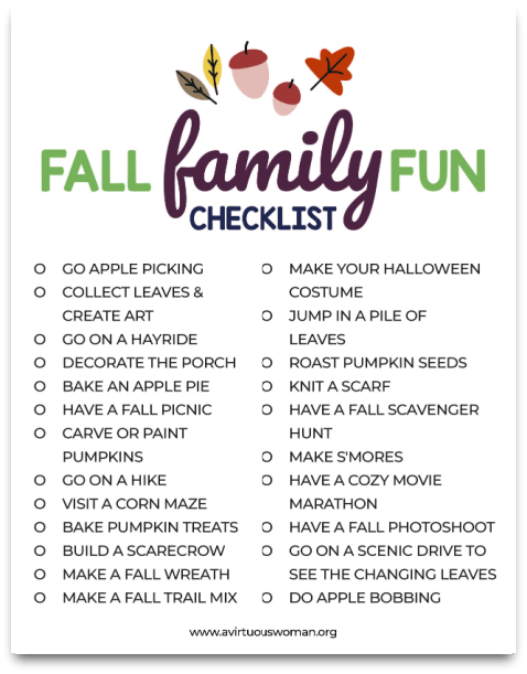 Fall Activities for Families + Free Printable @ AVirtuousWoman.org