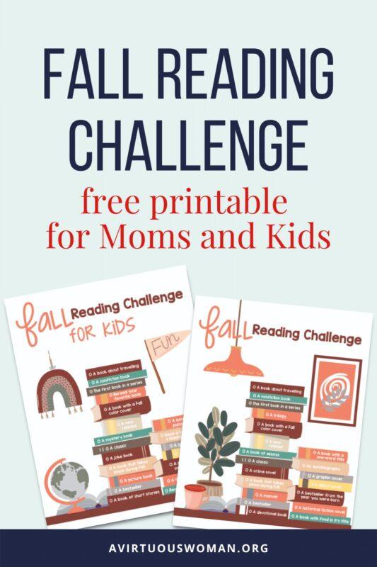 Fall Reading Challenge   Free Printable @ AVirtuousWoman.org