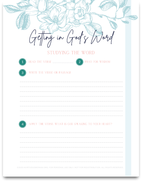 Getting in God's Word | Study the Word Worksheets @ AVirtuousWoman.org