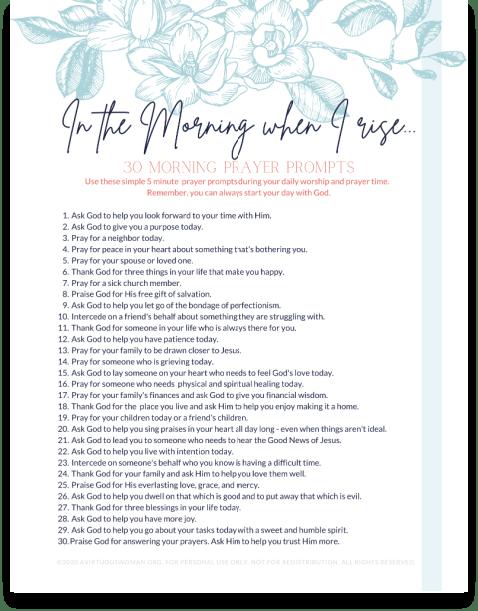 30 Morning Prayer Prompts | Printable Prayer Prompts @ AVirtuousWoman.org