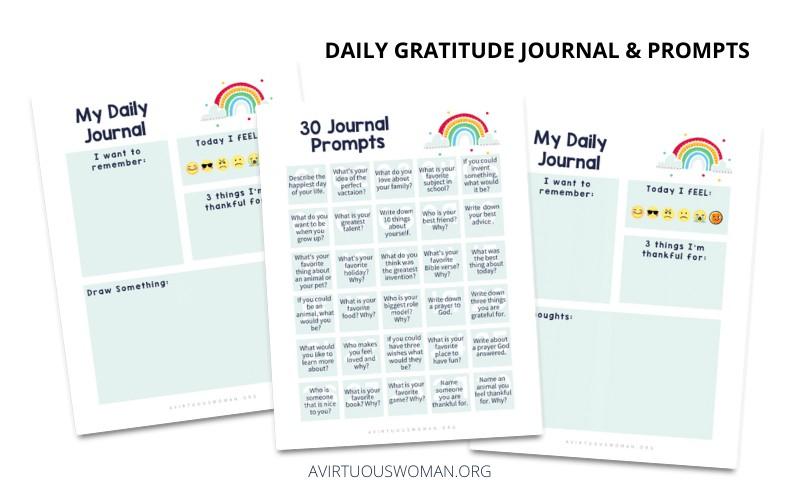 Daily Gratitude Journal for Kids @ AVirtuousWoman.org
