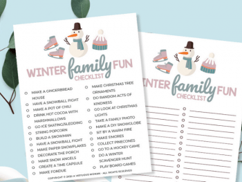 Winter Family Fun Checklist | Free Printable @ AVirtuousWoman.org