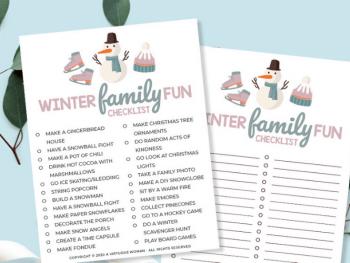 Winter Family Fun Checklist | Free Printable @ AVirtuousWoman.org