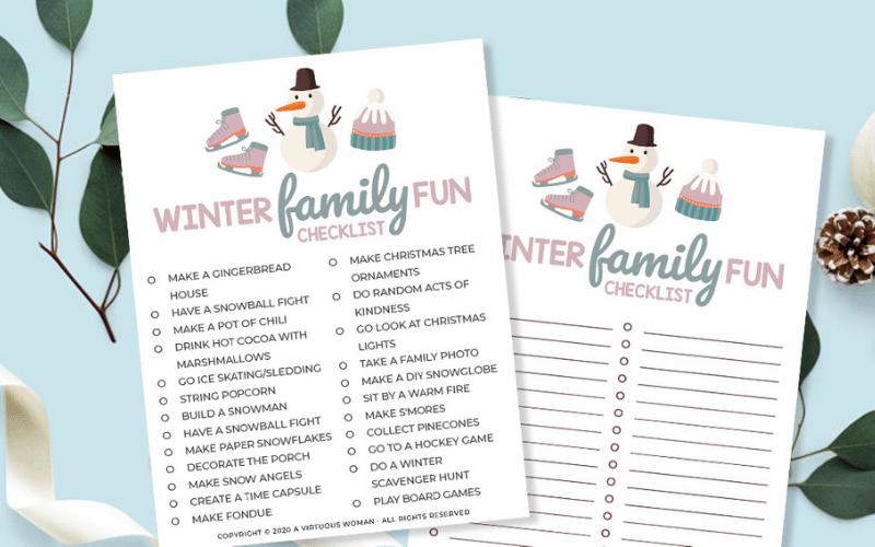 Winter Family Fun Checklist | Free Printable Checklist