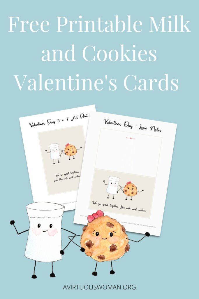 Free Printable Milk and Cookies Valentine's Day Cards @ AVirtuousWoman.org