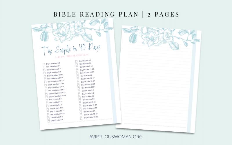 Read Through the Gospels in 40 Days Checklist @ AVirtuousWoman.org