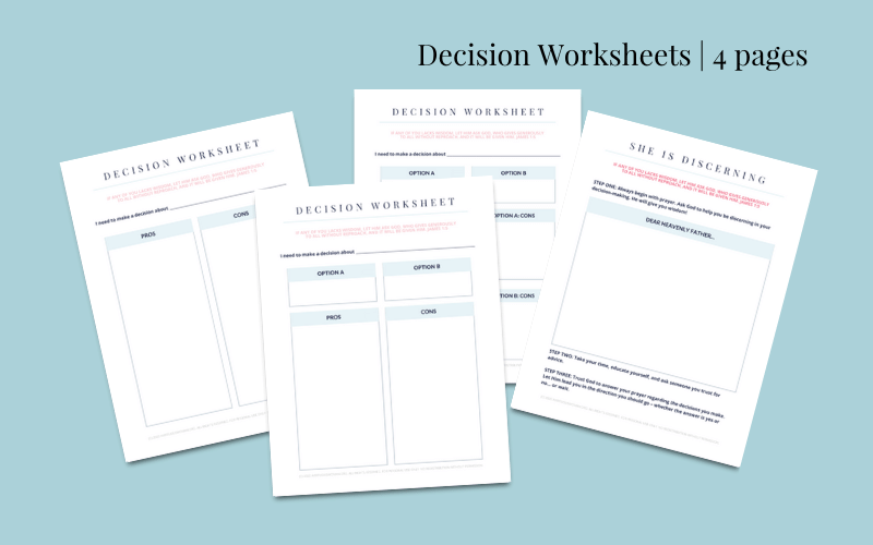 Decision Making Worksheets @ AVirtuousWoman.org