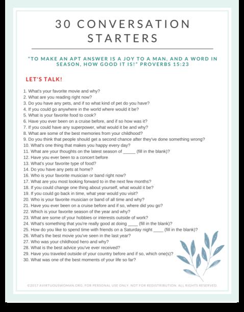 30 Good Conversation Starters | Free Printable @ AVirtuousWoman.org