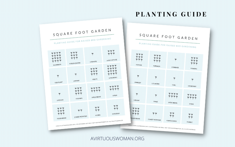 Square Foot Gardening Planting Guide | Free Printable @ AVirtuousWoman.org