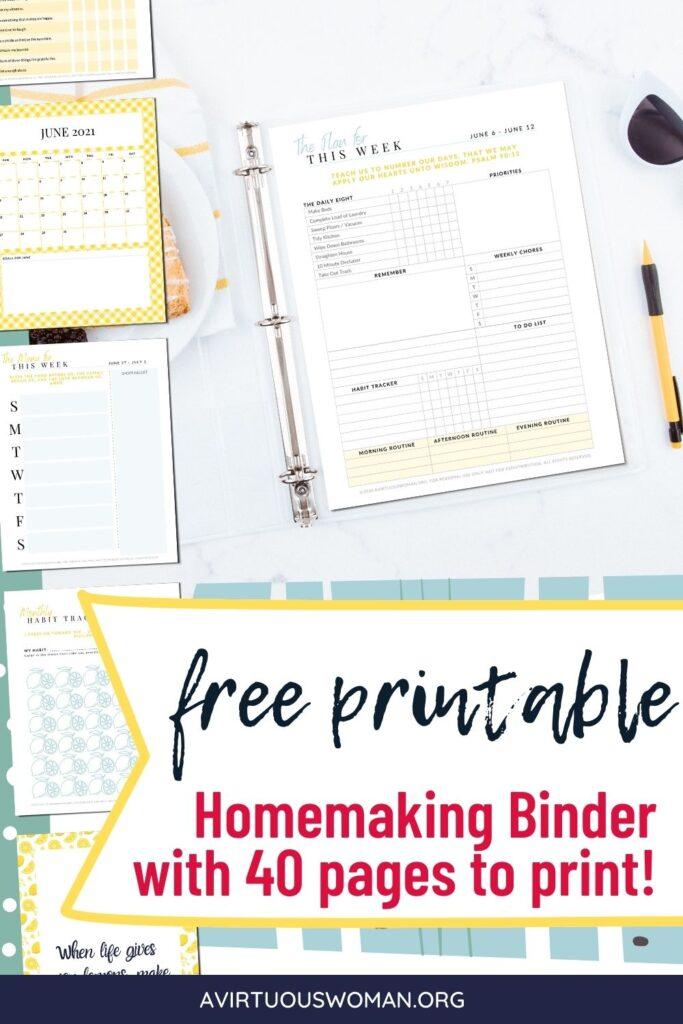 Free Printable Homemaker's Binder @ AVirtuousWoman.org