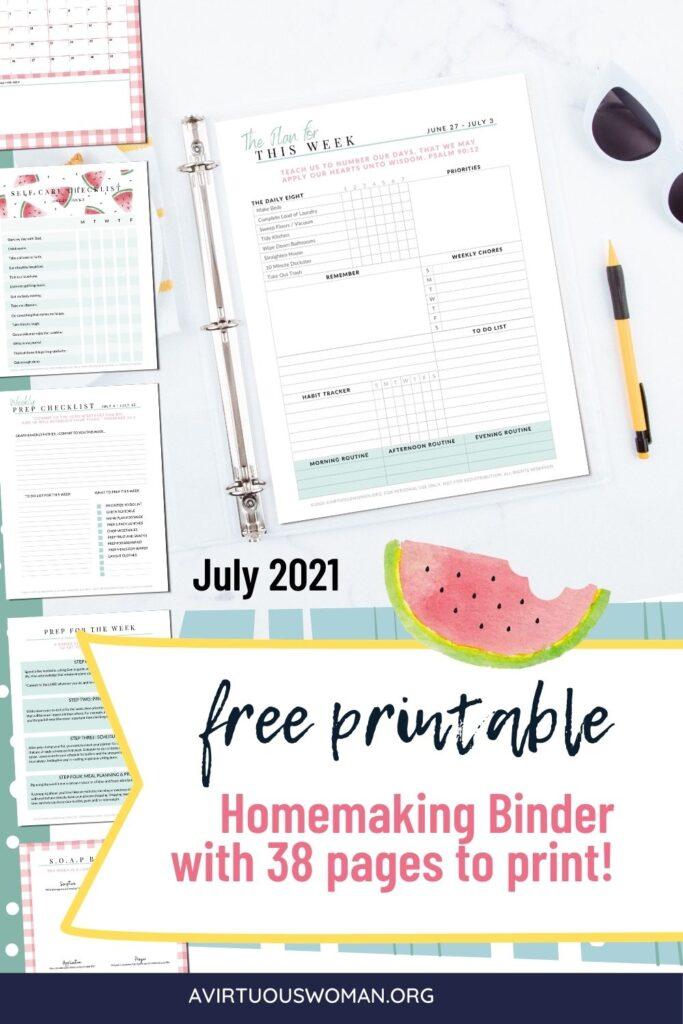 Homemaking Binder | Household Notebook @ AVirtuousWoman.org
