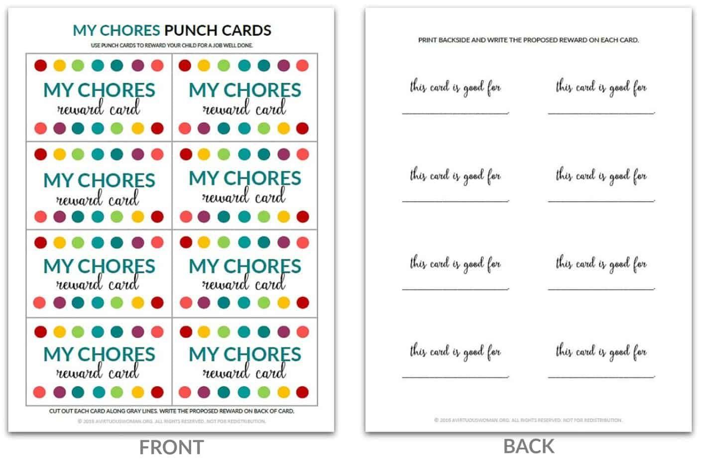 Chores Punch Card from AVirtuousWoman.org