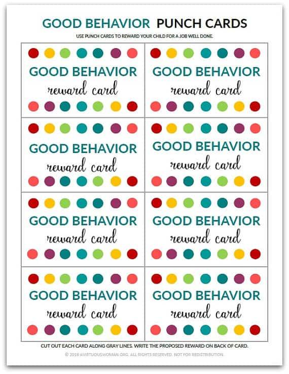 Good Behavior Punch Cards @ AVirtuousWoman.org