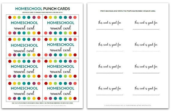 Homeschool Punch Card @ AVirtuousWoman.org