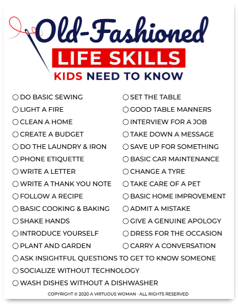 Old Fashioned Life Skills Kids Need to Know @ AVirtuousWoman.org