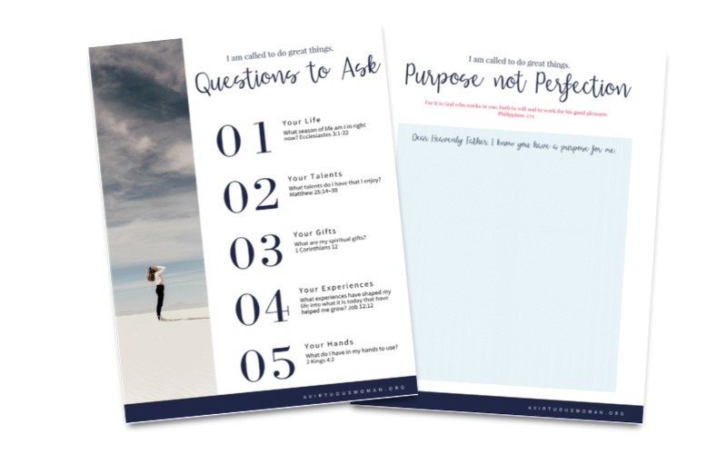 Find Your Calling Worksheets @ AVirtuousWoman.org