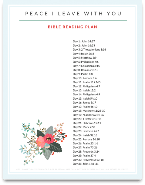 Peace I Leave with You Bible Reading Plan @ AVirtuousWoman.org