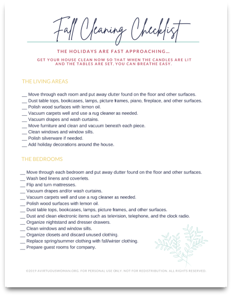 Fall Cleaning Checklist @ AVirtuousWoman.org