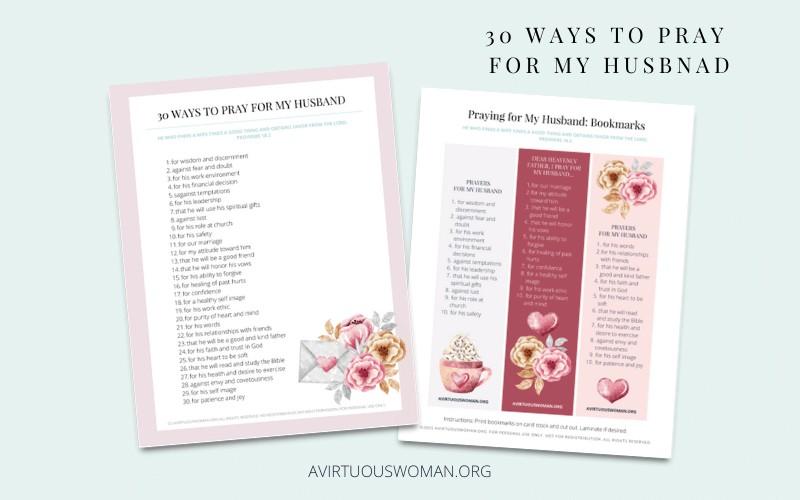 30 Ways to Pray for My husband @ AVirtuosuWoman.org