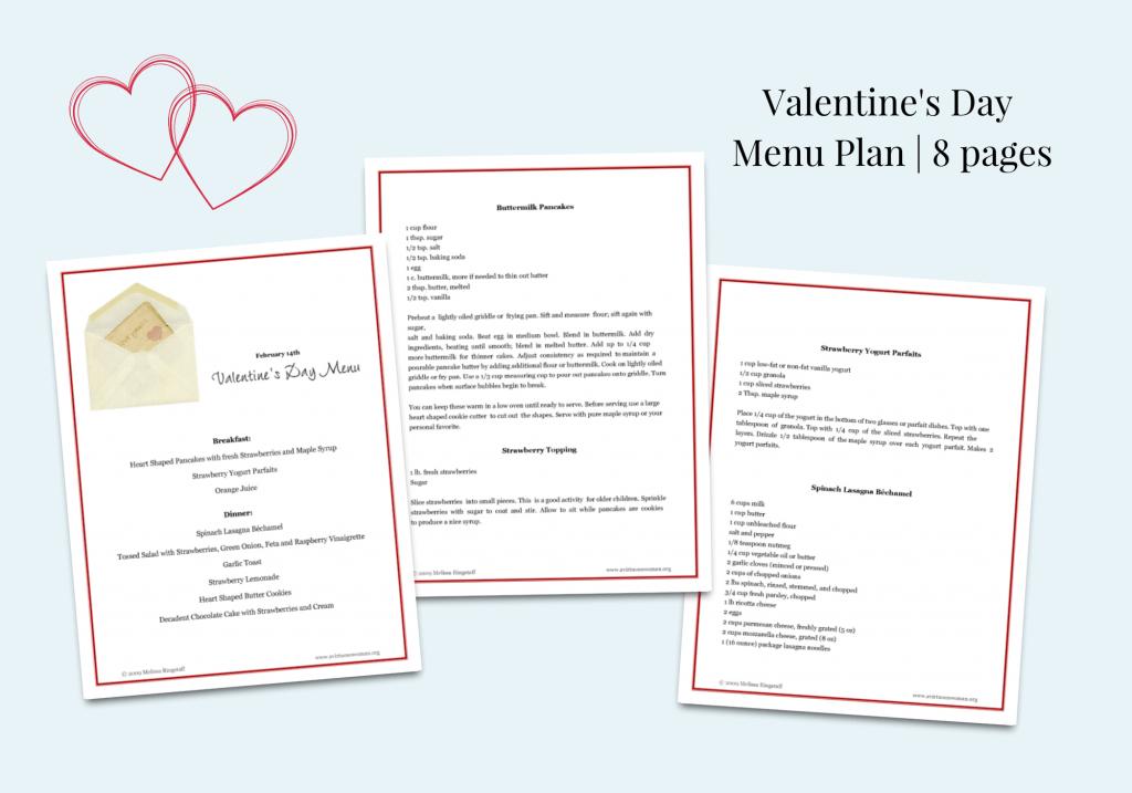 Free Printable Valentine's Day Menu Plan @ AVirtuousWoman.org