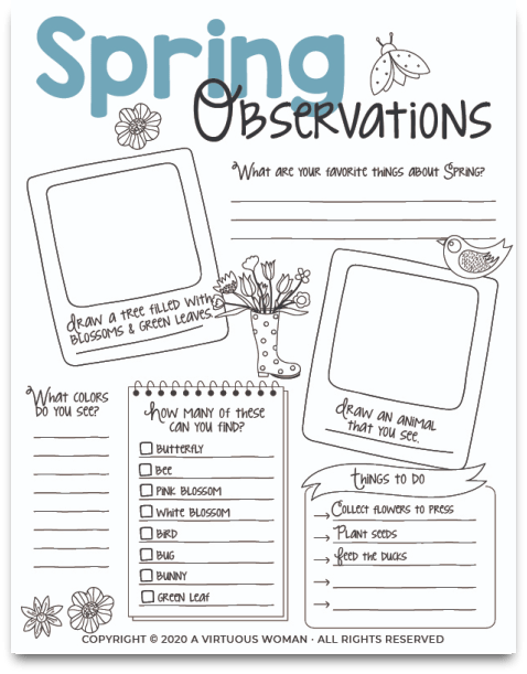 Spring Observations for Kids @ AVirtuousWoman.org