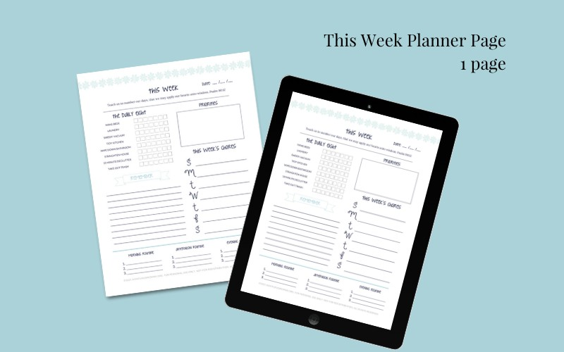 This Week Planner Page @ AVirtuousWoman.org